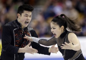 The Shibutanis react to The Ice Queens podcast. (AP Photo/Steven Senne)